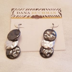 Dana Buchman triple disc drop earrings silvertone